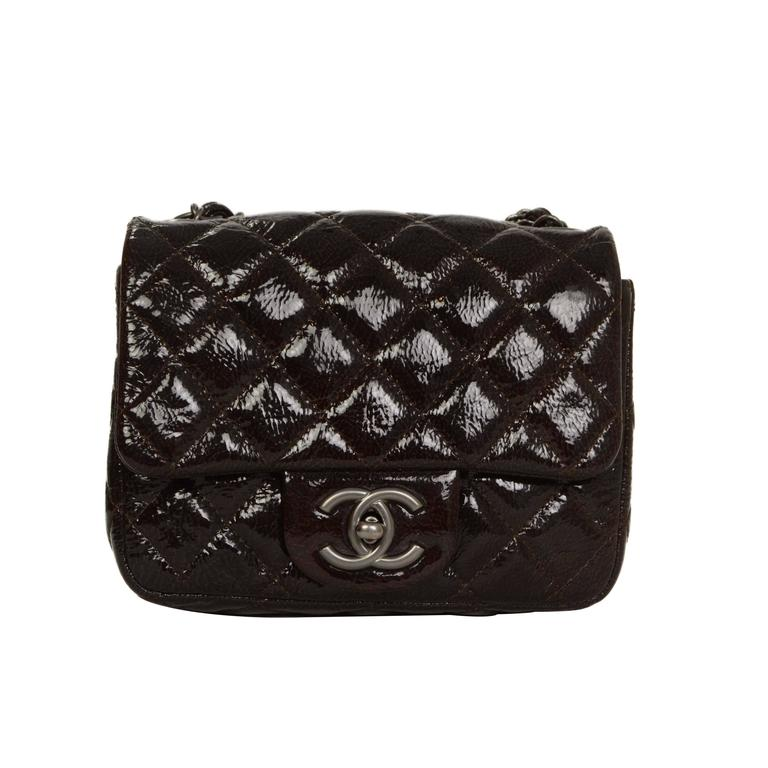 Chanel Brown Distressed Patent Leather Square Mini Flap Bag SHW For Sale