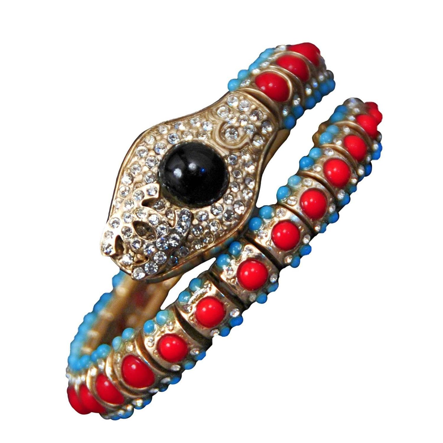 Chanel Jeweled Snake Bracelet For Sale At 1stdibs