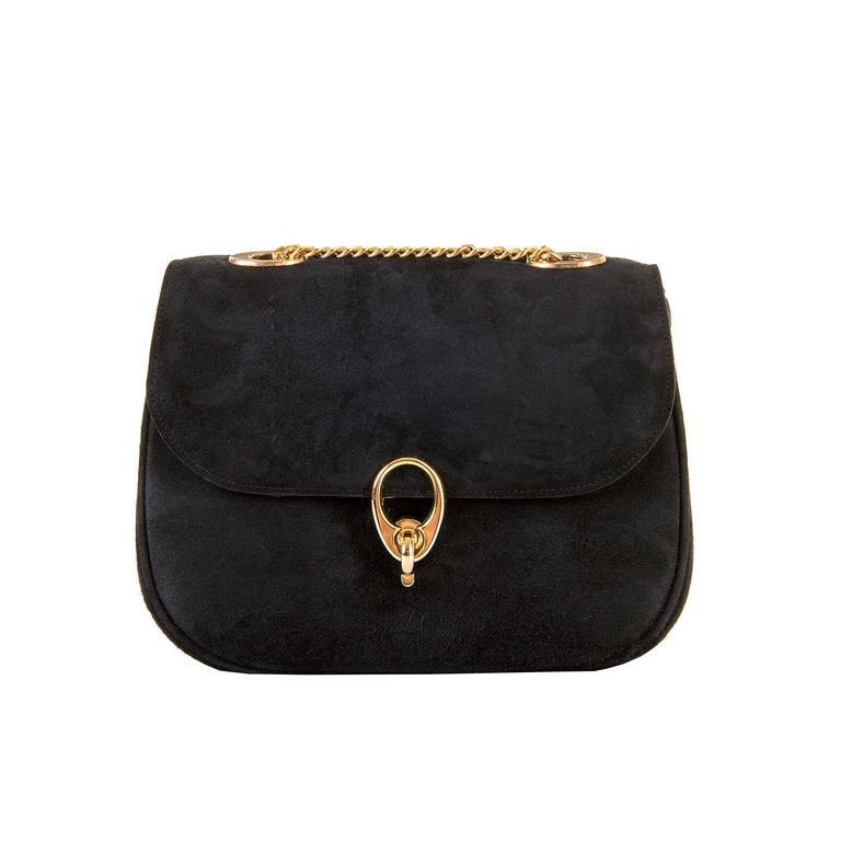 WOW Celine of Paris Black Suede Shoulder or Clutch Bag 1