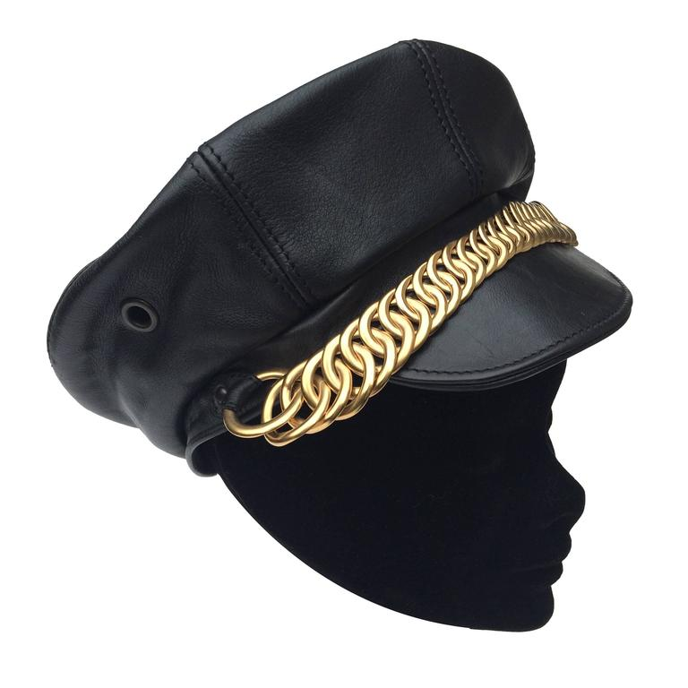 Balenciaga Black Leather and gilt metal peaked cap 1
