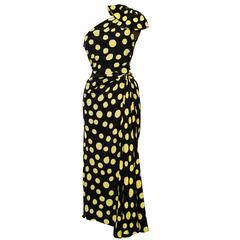 1970s Nina Ricci Black Silk One-shoulder Dress