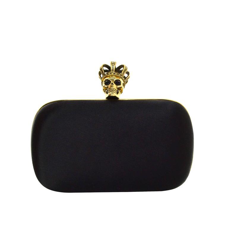 Alexander McQueen Black Satin Queen Skull Crown Clutch GHW ...
