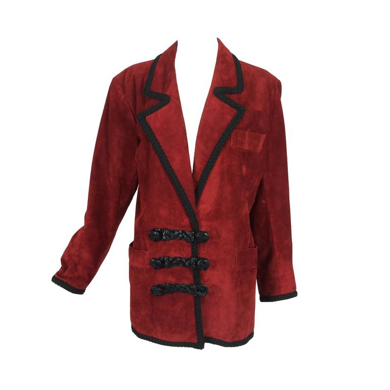 Yves St Laurent Rive Gauche le smoking burgundy red suede jacket 1990s For Sale