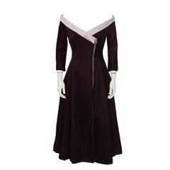 1999-2000 Chloe Purple Off-the-Shoulder Cocktail Dress