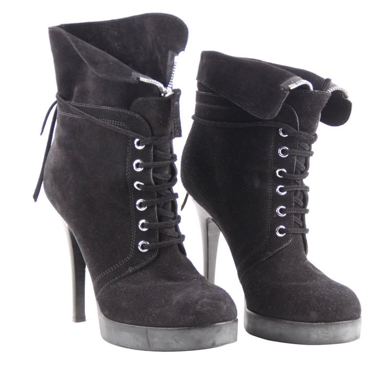 GIUSEPPE ZANOTTI DESIGN Black Suede ANKLE BOOTS Stiletto HEELS Sz 39 For Sale