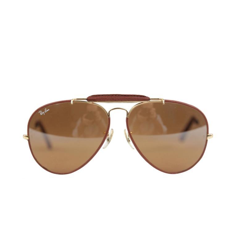 b5b41c52968 RAY BAN B L Vintage Brown LEATHERS Outdoorsman AVIATOR 62 14 Sunglasses  w CASE at 1stdibs