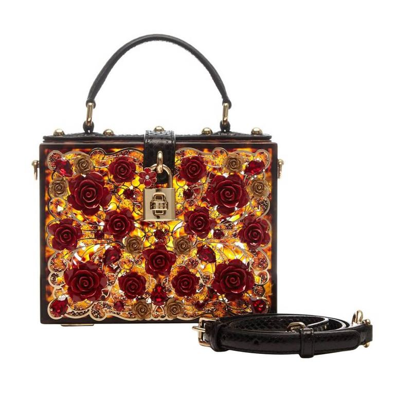 Dolce and Gabbana Tortoiseshell Flower Box Bag 1