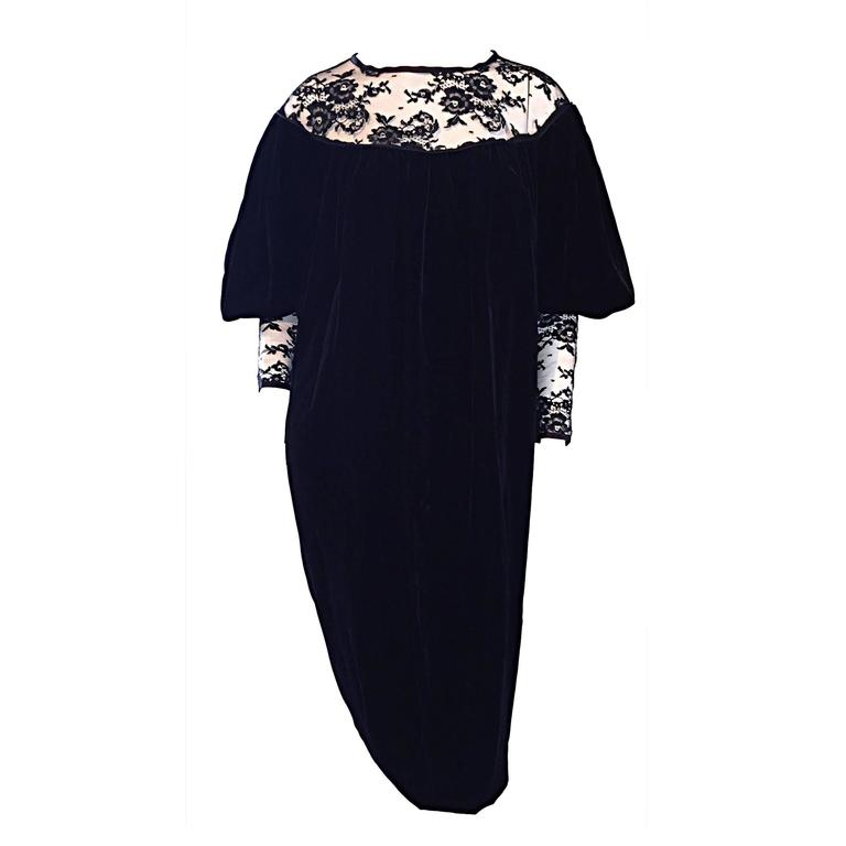 Important Documented Vintage Yves Saint Laurent c 1981 Black Velvet + Lace Dress For Sale