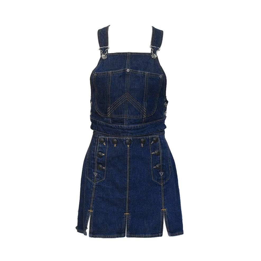 gaultier denim bib and mini skirt for sale at 1stdibs