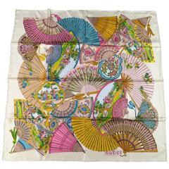 GUCCI Beige Silk Multi Color Fans Scarves