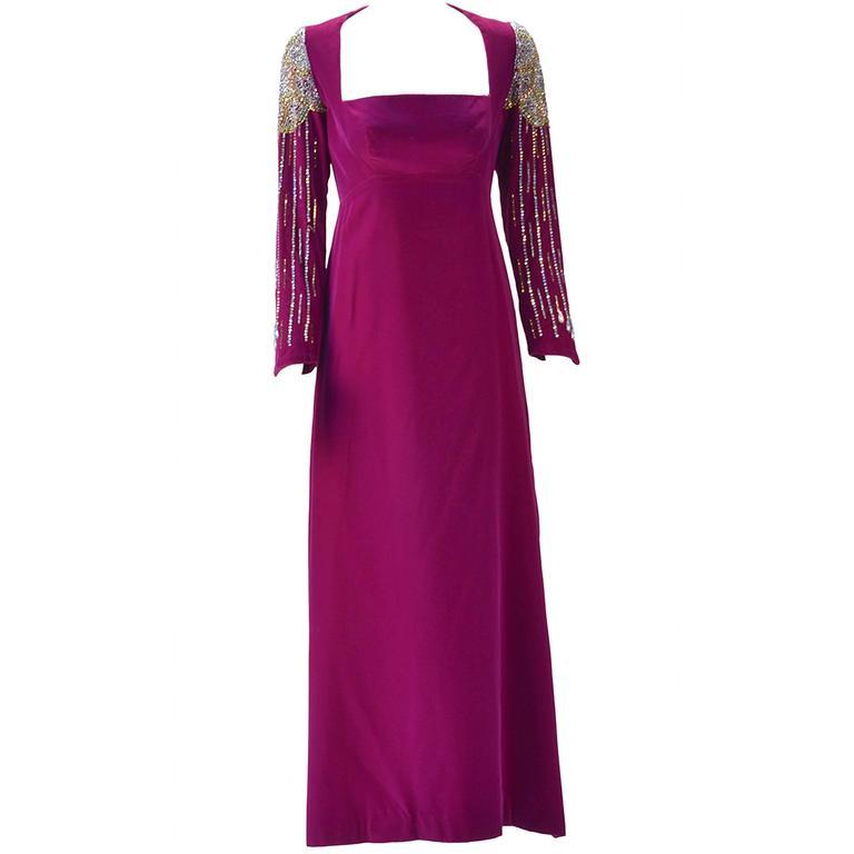 1960s Mr. Blackwell Custom Purple Velvet Evening Dress at 1stdibs