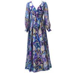 1970s Oscar de la Renta Abstract Floral Metallic Dress
