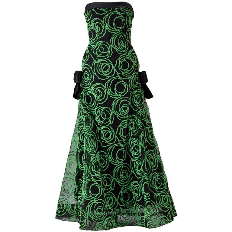 1980s Scaasi Strapless Neon Green Velvet on Black Net Evening Gown 1