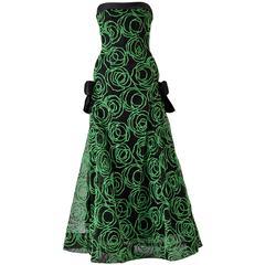 1980s Scaasi Strapless Neon Green Velvet on Black Net Evening Gown