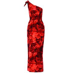 1960s Betty Carol Mam'Selle Red Floral Velvet Dress