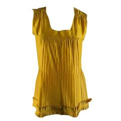 OSCAR DE LA RENTA Size 6 Yellow Silk Pleated Sleevless Dress Top