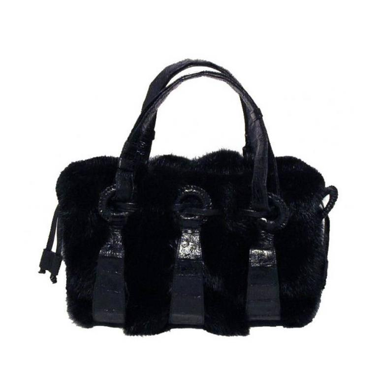 Nancy Gonzalez Black Mink and Crocodile Handbag