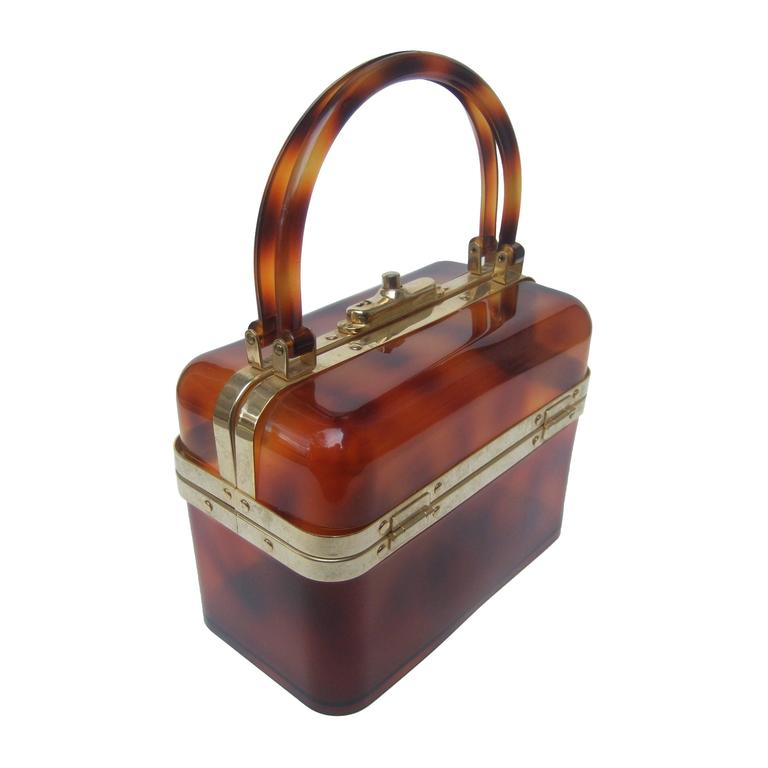 Sleek Tortoise Shell Lucite Handbag Made in France c 1970 1