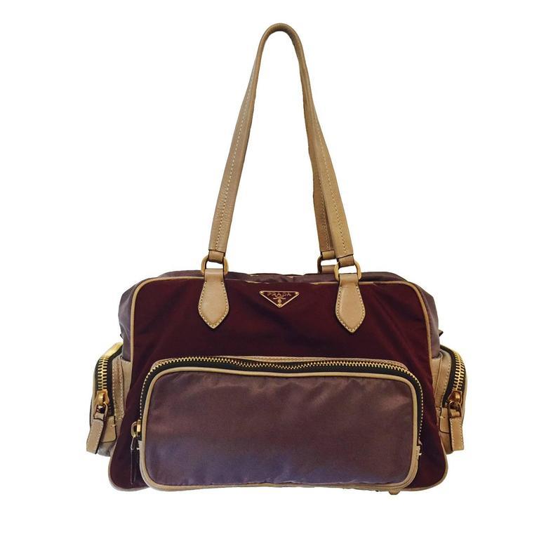 a3ed511cb48ac5 Prada Color Blocked Nylon Shoulder Bag With Gold Hardware For Sale at  1stdibs