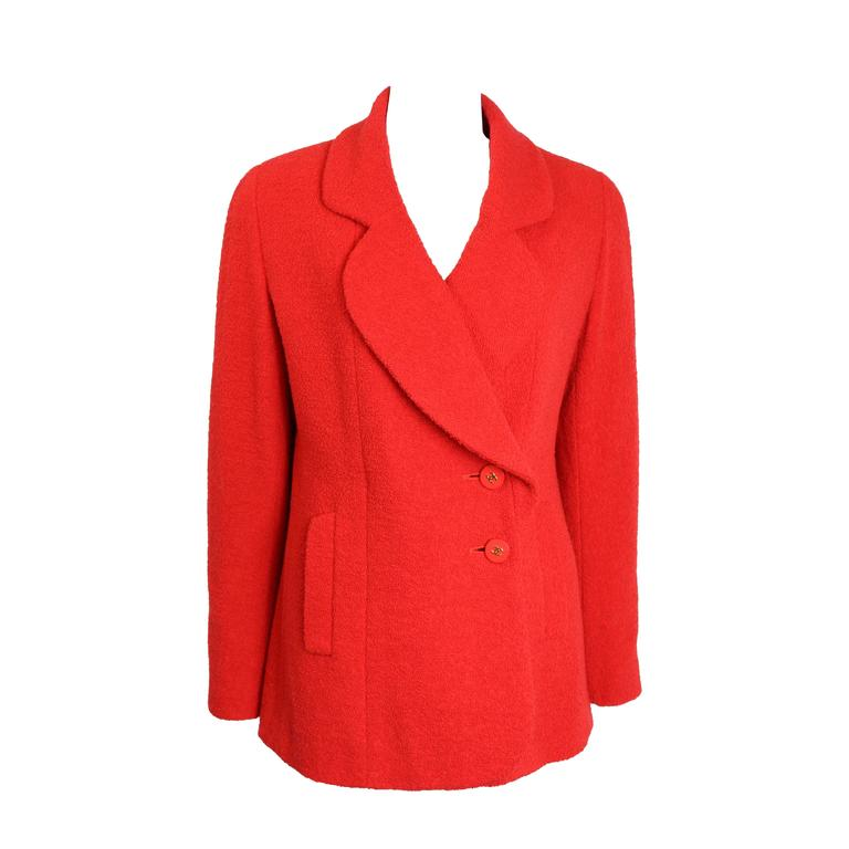 Chanel Red Boucle Wool Jacket For Sale