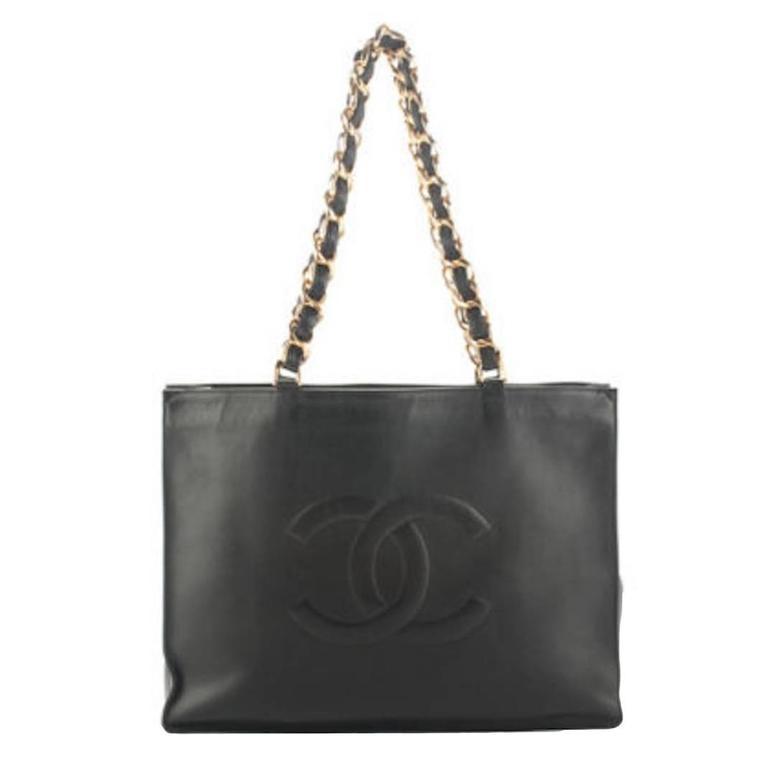 Chanel Black Lambskin Leather Gold Chain Shoulder Bag Shopper Tote 1
