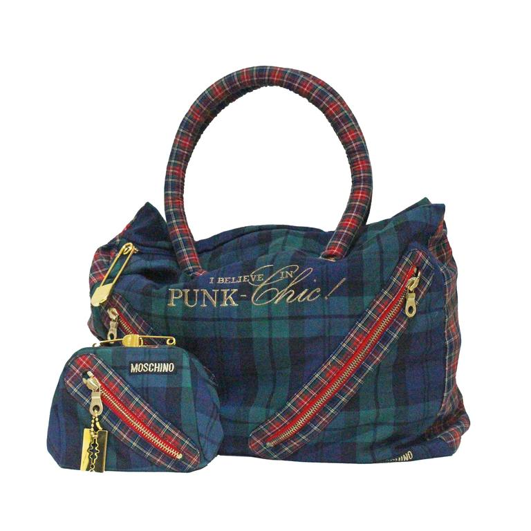 Moschino tartan Punk Chic! large tote bag with purse, c. 1990s  For Sale