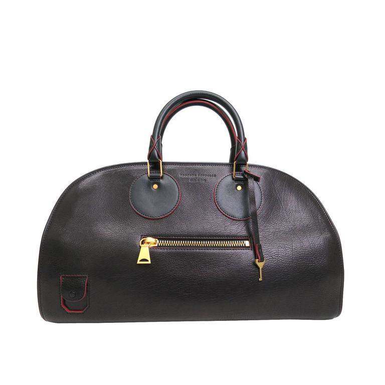Proenza Schouler Black and Red Leather Gold Hardware Doctor Bowling Satchel Bag