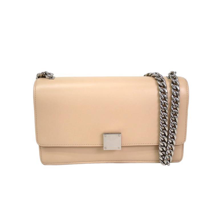 Celine Beige Nude Leather Flap Silver Chain Crossbody Shoulder Bag ...