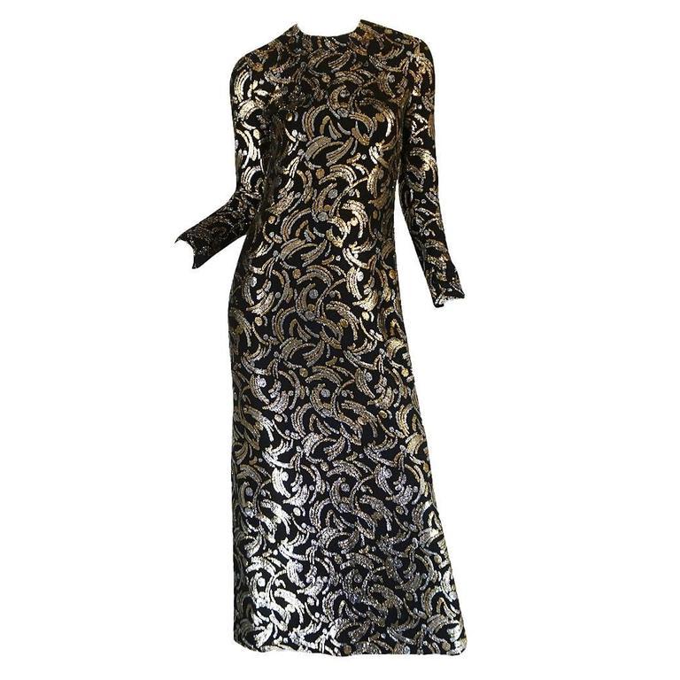 1970s Metallic Silver & Gold Thread Silk Galanos Dress