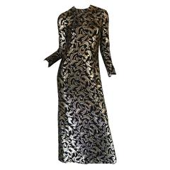 1970s Metallic Silver & Gold Thread Silk Galanos Dress