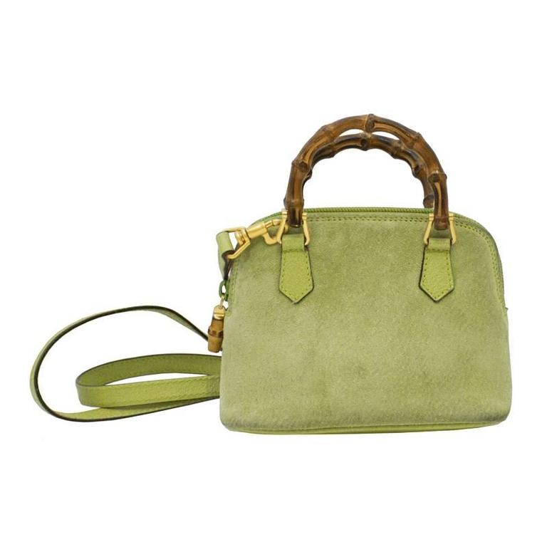 d121ada31b6e 1980 s Gucci Green Suede Mini Bag with Bamboo Handle at 1stdibs