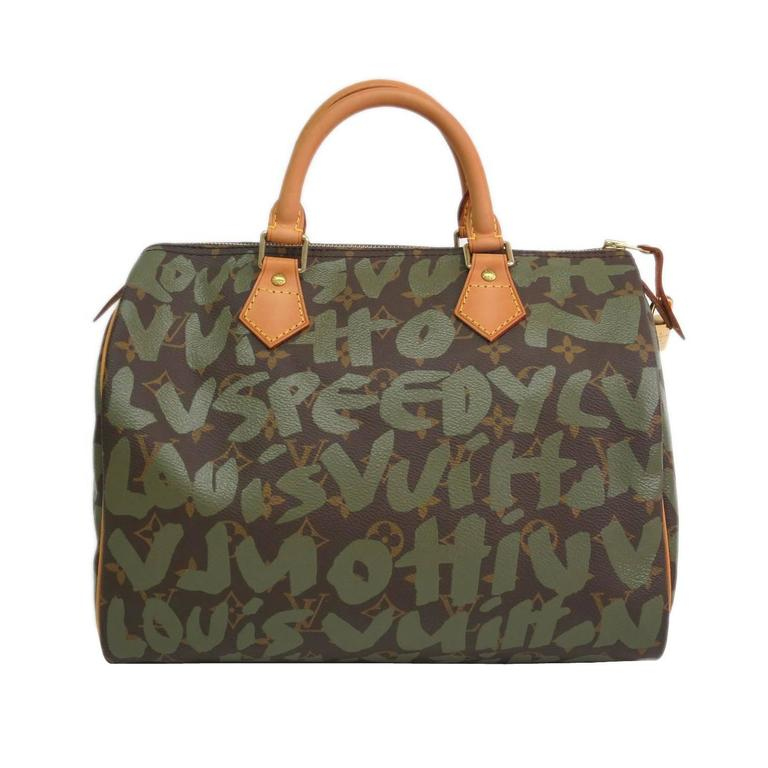 Louis Vuitton Limited Edition Stephen Sprouse Green Graffiti Speedy 30 Satchel  For Sale