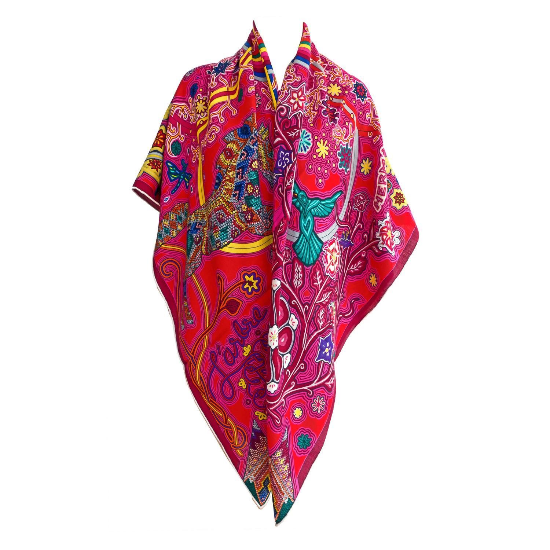 hermes l arbre du vent silk shawl scarf gm 140cm