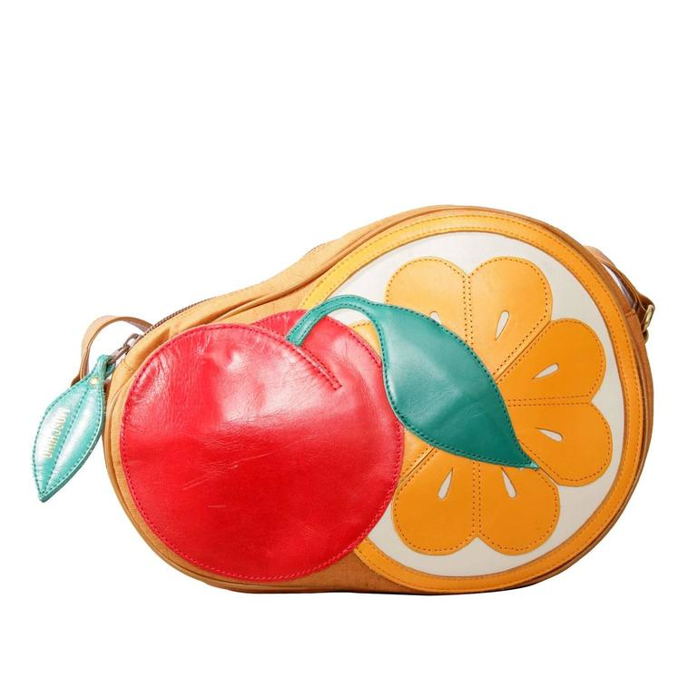 1980s Moschino Canvas Shoulder Bag W. Fruit Applique 1