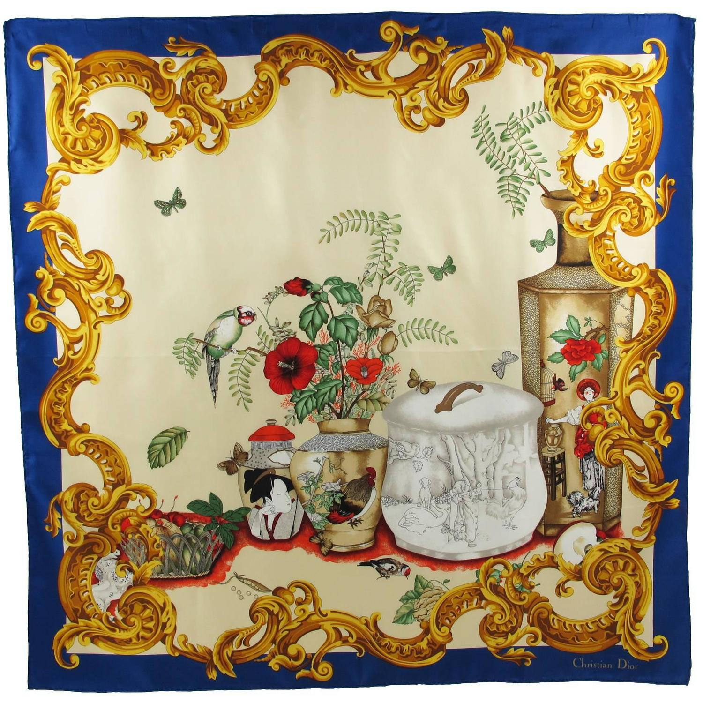 vintage christian silk twill scarf japanese vases