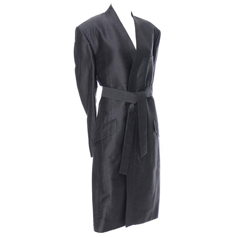 b3c0a873460 Yves Saint Laurent Rive Gauche YSL Mens Vintage Coat Gray Linen For Sale