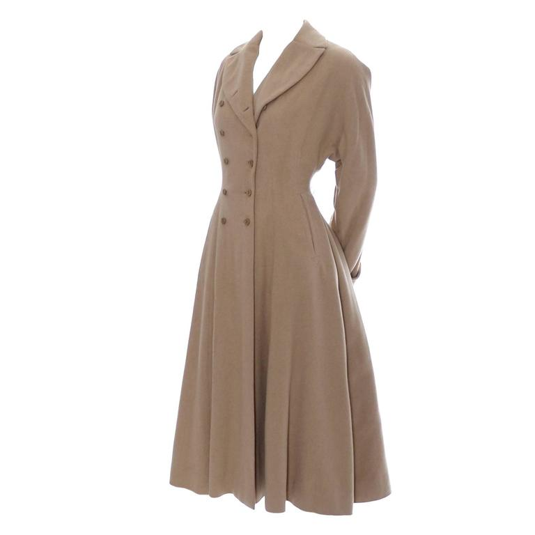 Vera Maxwell Vintage Coat Rare 1940's Double Breasted Cashmere  For Sale