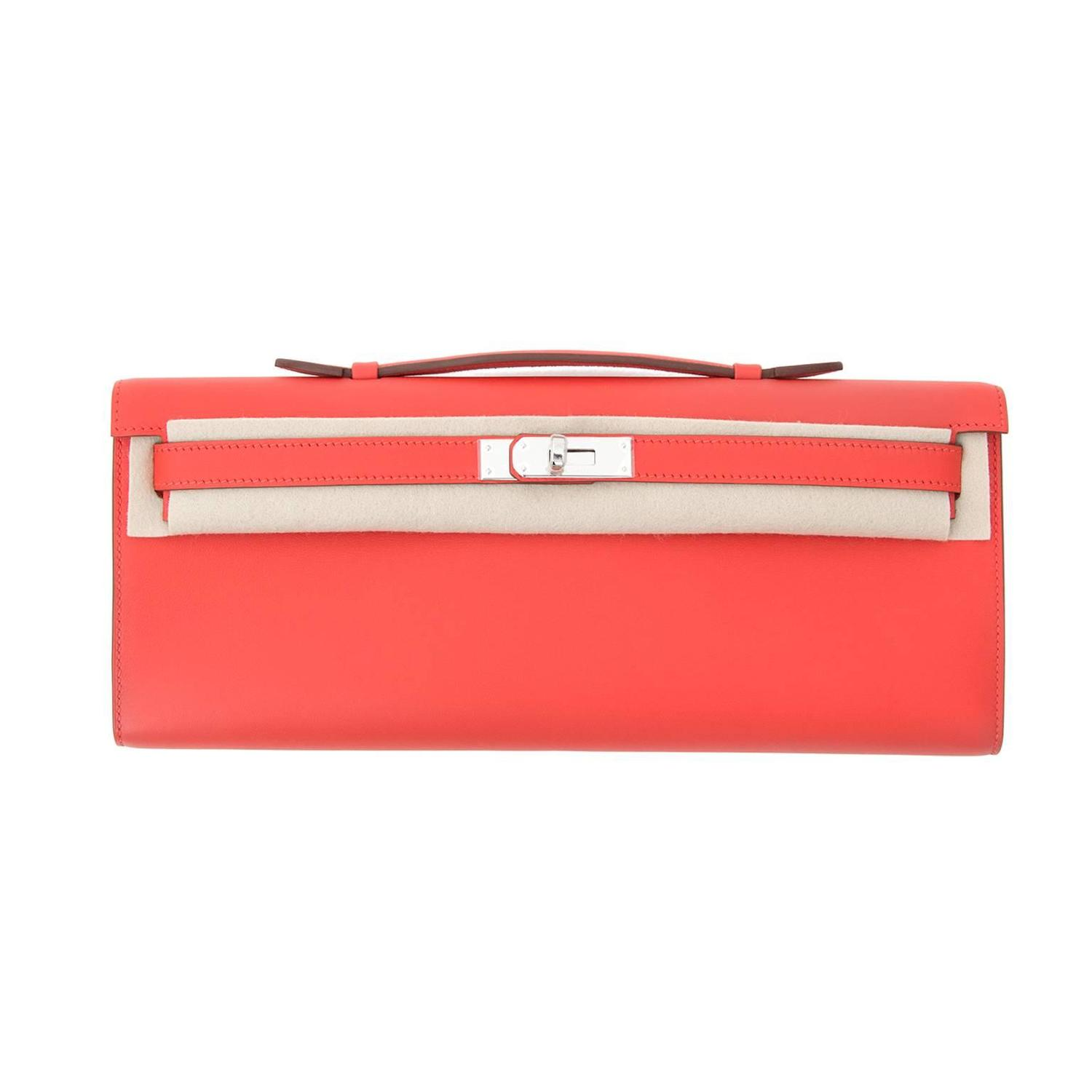 hermes kelly cut clutch in cappucine swift with silver hardware