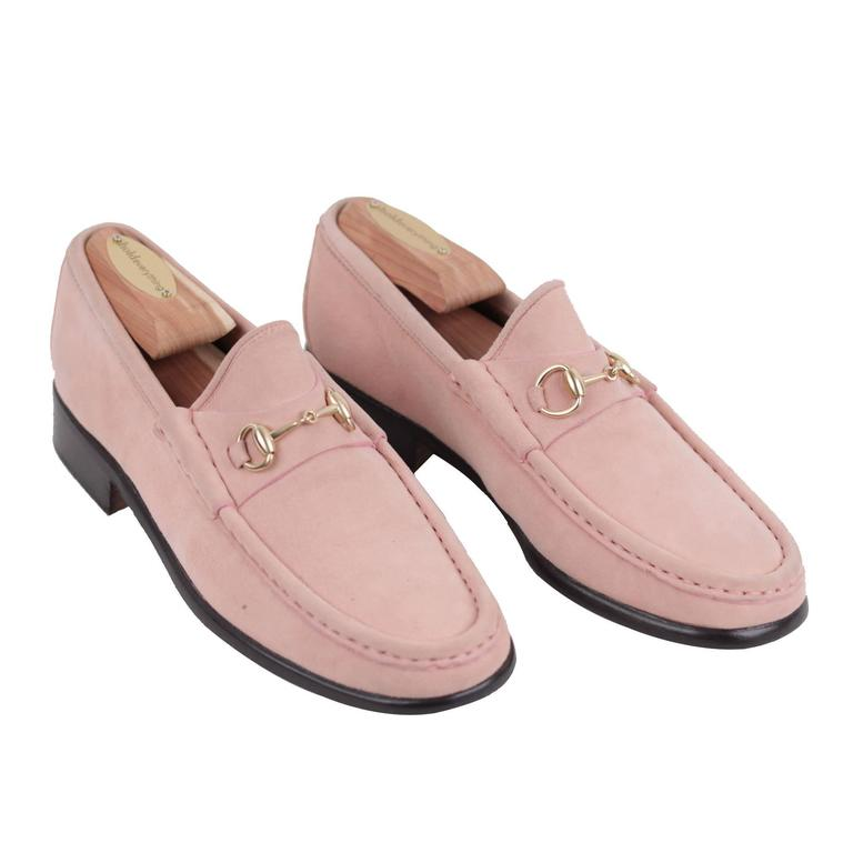 GUCCI Italian VINTAGE Pink Suede LOAFERS Mocassins SHOES w ...