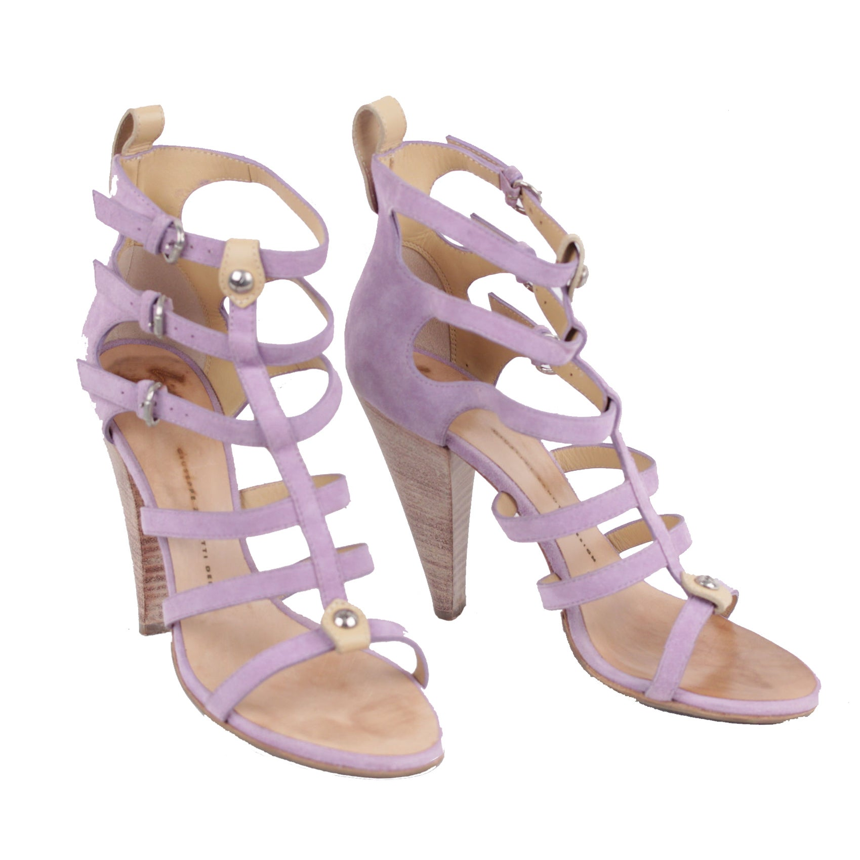 706ef929a10b Giuseppe zanotti design lilac suede cage strappy heeled sandals heels for  sale at stdibs jpg 1699x1699