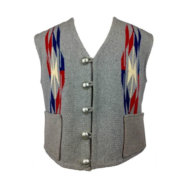 Men's Chimayo Wool Vest with Concho Buttons.  1950's. For Sale