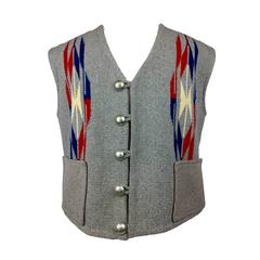 Men's Chimayo Wool Vest with Concho Buttons.  1950's.