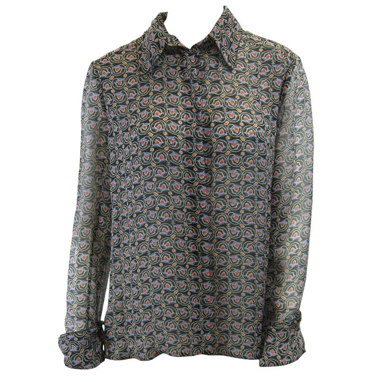 Chanel Sheer Silk Chiffon Printed Blouse For Sale