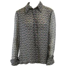 Chanel Sheer Silk Chiffon Printed Blouse