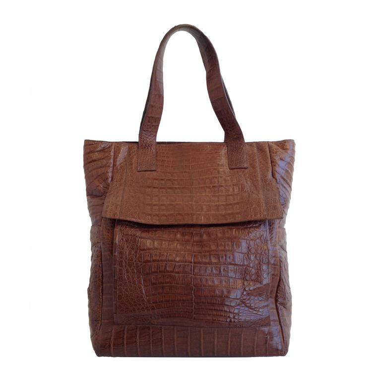 Nancy gonzalez caramel brown crocodile tote purse at 1stdibs for Nancy gonzalez crocodile tote