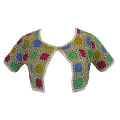 Moschino Cheap and Chic Metallic Crochet Cropped Cardigan