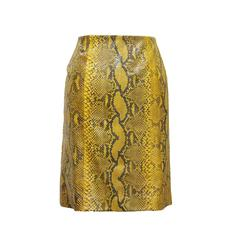 Gianfranco Ferre yellow python pencil skirt, c. 1990s