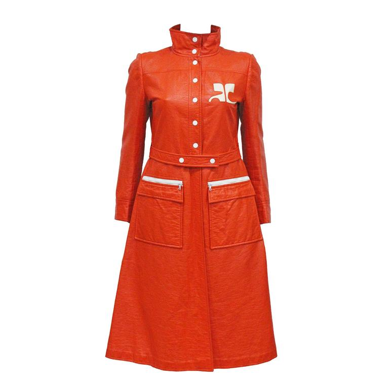Courreges orange vinyl coat dress, c. 1970