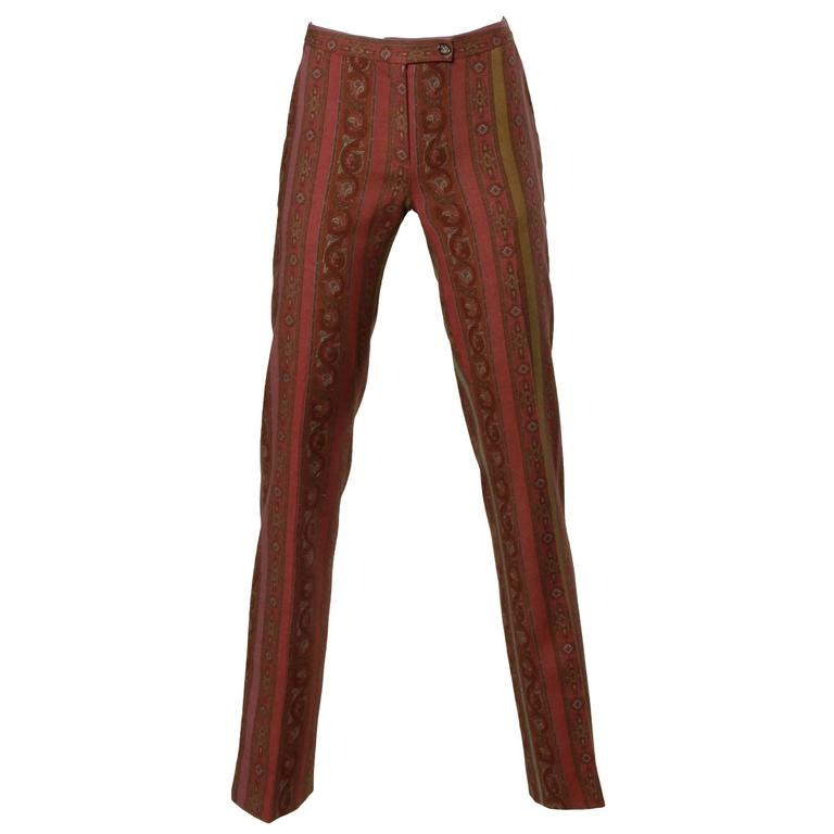 Etro Wool Blend Paisley Trousers or Pants