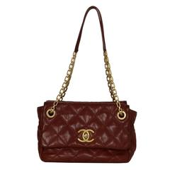 Chanel Burgundy Quilted Leather Bag GHW